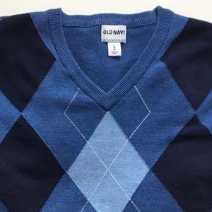 Old Navy Blue Heather Argyle V Neck Sweater Sz XL